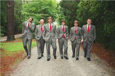 red & grey weddings