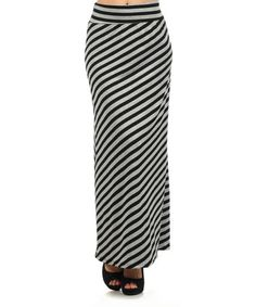 Look what I found on #zulily! Black & Gray Stripe Maxi Skirt #zulilyfinds