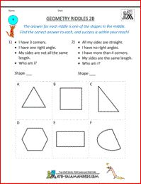 Geometry Riddles 2B, geometry puzzle 2nd grade