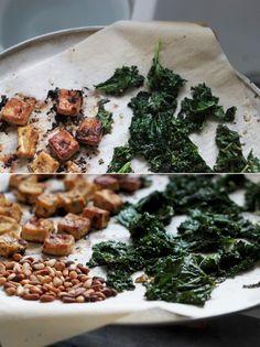 Roasted Tofu & Kale w/pine nuts