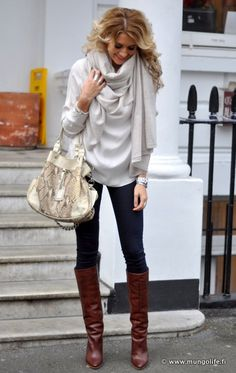 love the all white top scarf w/ cognac boots