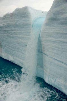 Marvelous Glacier Water Falls Svalbard, Norway