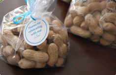 Bags of Peanuts would looks so cute with our Favor Tag on them