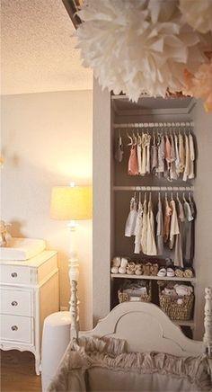 end closet space used as baby nursery closet
