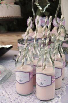 Pink milk and grey straws