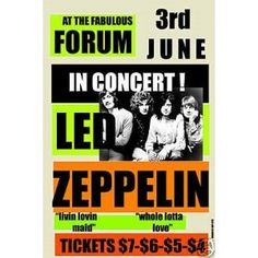 Music Led Zeppelin @ Los Angeles Forum Concert Poster 1973
