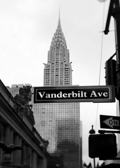 Great photo of Chrysler Building & Grand Central Terminal with Vanderbilt Ave street sign in foreground. #nyc #ny