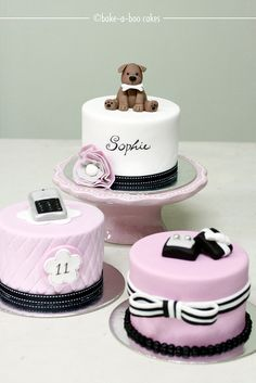 Pink parisian theme mini cakes by Bake-a-boo Cakes NZ, via Flickr