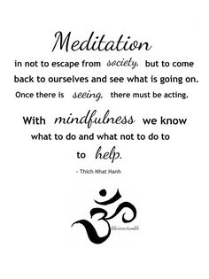 Meditation is not to escape