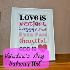 valentine's day subway art with free printable