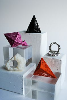 Nylon, resin and silver cast rings. Theresa Burger
