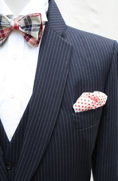 Mens Vintage Navy Pinstripe Suit by ViVifyVintage