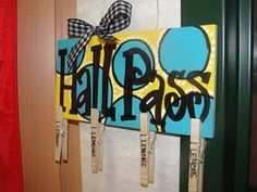 Hall Passes: clothes pins, they just clip it on their shirt= no germy bathroom passes!
