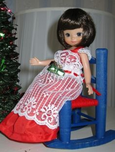 "Linda Lenhardt's About Christmas Bettina: ""Tiny Betsy is dressed in her Christmas best."" #dolls"