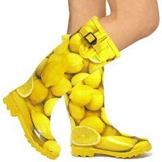bridesmaids, lemons, print rainboot, rain boot, wellington boot, yellow rain, bright yellow, shoe, boots
