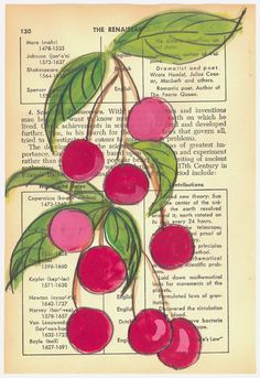 Summer Cherries  Original Painting on Antique Book Paper by kipi, $60.00