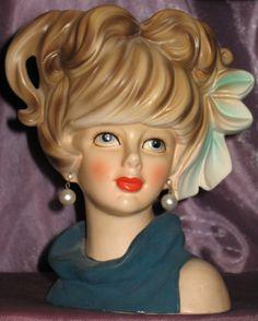 "Large VTG Relpo *LADY W/ BOW IN HAIR HEAD VASE* Girl Planter 7"" Japan"