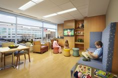 Comfort for family members staying with young patients was an important design consideration at the Herman & Walter Samuelson Childrens Hospital at Sinai in Baltimore, designed by @Peggy Martin Coplan Macht, Inc.  (Baltimore), where spaces like this family lounge were created to help pass time during long outpatient procedures. Photo: Patrick Ross.
