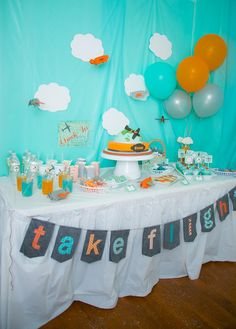 Airplane Party with Lots of Cute Ideas via Kara's Party Ideas : Dessert Table