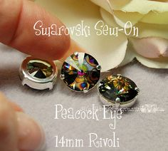 Peacock Eye Rivoli 1122 Sew On - Swarovski Crystal 14mm in a SP 4-hole Prong Setting Wire Jewelry Supply