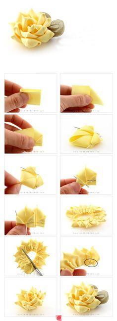 yellow flowers, diy beauti, crafti, diy crafts, beauti yellow, craft tutorials, yellow flower diy, fabric flowers no sew, ribbon flower