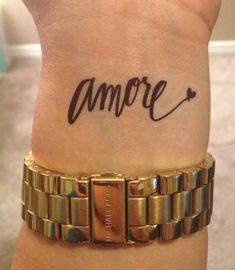 Temporary Handwritten Amore Tattoo. $5.00, via Etsy.