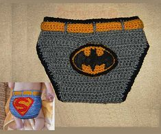 Crochet Batman and Superman Diaper/Soaker covers designed by Cathy Ren ~ Patterns available on Ravelry