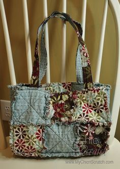 rag quilt purse using SU! scalloped square die