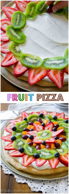 The BEST fruit pizza recipe made on my favorite soft-baked sugar cookie crust.