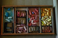 """They are the colours of New Mexico"" ... Georgia O'Keeffe's hand-made pastels as Photographed by: Annie Leibovitz"