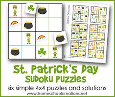 Six simple 4x4 Sudoko puzzles for kids for St. Patrick's Day from Homeschool Creations