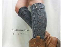 Open crochet knit leg warmers charcoal grey  / womens leaf knit pattern  great with cowboy boots by Catherine Cole Studio legwarmers.