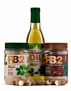 PB2 - Powdered Peanut Butter - 85% less fat and 45 calories per 2T serving. Recipes in website.