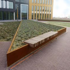 Metal planter / in wood / for public areas / with integrated bench ROUGH&READY: RAISED BORDER SEAT Streetlife