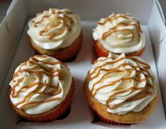 These Caramel Apple Cupcakes are a winner!! The cream cheese frosting pushes it over the top! (Click for recipe and 5 more fall-inspired cupcakes) cupcakes, cupcake recipes, food, cupcak recip, caramels, appl cupcak, caramel apple cupcake, cream cheese frosting, caramel apples