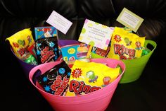 """graduation gift- """"Just popping in to say Congrats"""". Dollar Tree container filled with PopRocks, Popsicles, RingPops, SodaPOP and maybe popcorn. Cute and relatively cheap graduation gift."""