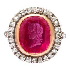 Antique Ruby Cameo of Roman Lady Diamond Ring