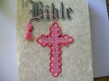 Bible Bookmark Tatted Cross Handmade Tatting Pink