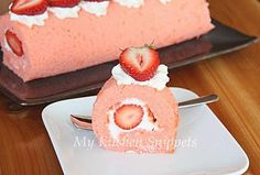 4 eggs  80 gram sugar  80 gram cake flour  20 gram custard powder or cornstarch   ¼ tsp salt  50 gram butter - melted  A few drop of strawberry essence  A few drop of pink coloring  Filling:    200 ml whipping cream  3 tbsp confectioners' sugar  Some fresh strawberry