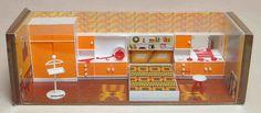 Vintage Mod Orange Modella Dollhouse Bedroom - 1971
