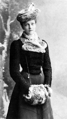 Beautiful victorian lady with a fur muff.