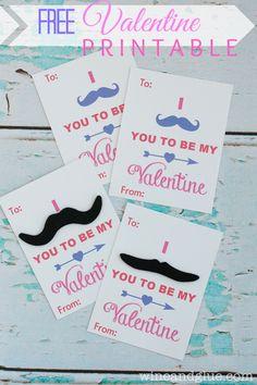 Mustache Valentines {Free Valentine Printable}  A fun and free valentine printable!
