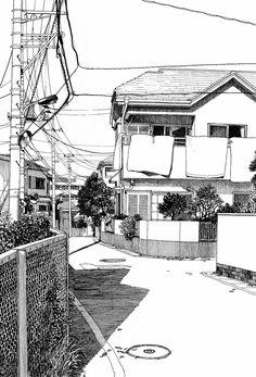 azuma kiyohiko, draw, sketch, harris tweed, architectur
