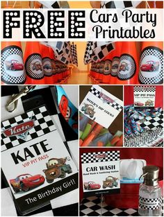 FREE Cars Birthday Party Printables - race theme (not the cartoon cars- but race checks)