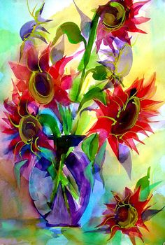 """""""Red Sunflowers in Blue Vase""""  - watercolor & gouche by ©Jackie Mangione (via Etsy)"""