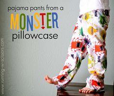pajamas from pillowcase by runningscissor, via Flickr pajamas, kids clothes, boy clothing, kids fashion, babies clothes, running, pillowcases, pajama pants, scissor
