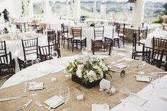 burlap runner on white round tablecloth