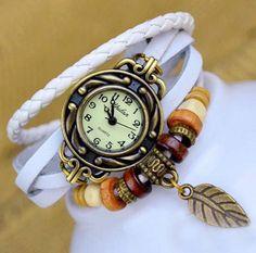 DIY watch Leather combination wrist watch,Vintage watch,Lady watch,men watch,leaves pendant,fashion watch bracelet (W106) via Etsy