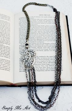 Vintage Rhinestone, Pyrite and Mixed Metal Asymmetrical One of a Kind Necklace....Allure Four