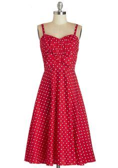 Cute vintage inspired red and white polka dot sundress.